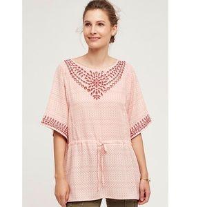 ANTHRO | One September Pink Laser Cut Tunic Blouse